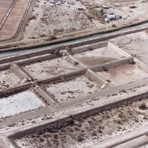 Slab City: aerial photograph of aqueduct and empty holding tanks