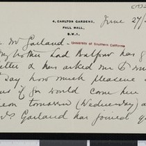 Alice Balfour, letter, 1922, to Hamlin Garland