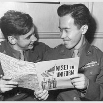 Pfc. Noboru Hokame, Hawaiian-born Japanese-American, and his Chicago buddy, Pfc. Charles P. ...