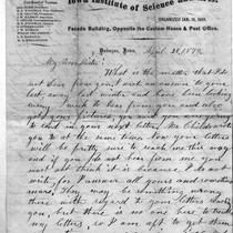 April 25, 1870 Letter from Mrs. Childs to Sister