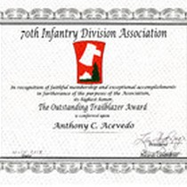 Award Certificate Given To Acevedo from the 70Th infantry Division Association, 2014