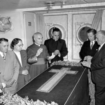 """Archbishop Hanna. Stateroom and afternoon on ship. SS PRES. MONROE. Aug. 18 ..."