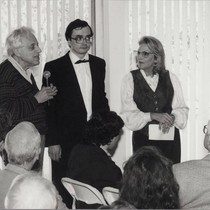 György Ligeti with Pierre-Laurent Aimard and Judith Rosen at a Musicale