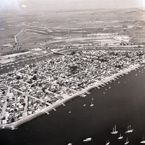 Aerial view of Balboa Island, Newport Beach, California: Photograph