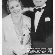 Mary Pickford and Sid Grauman, Owner of Chinese Theater, Hollywood, Calif