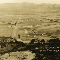 Aerial view of San Fernando Valley from the summit of Topanga, California