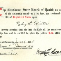 California State Board of Health nursing certification