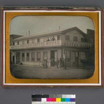 [Smith and Porter's coffee house and hotel on the corner of Sansome ...