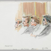 [recto]: Anthony Russo, Defense Attorney Leonard Weinglass, Defense Attorney Charles Nesson, Daniel ...