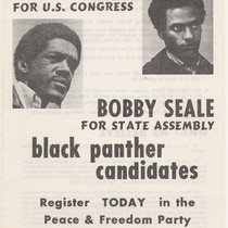 Huey Newton for U.S. Congress, Bobby Seale for State Assembly, flier