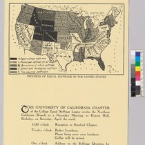 Announcement for the University of California Chapter of the College Equal Suffrage ...