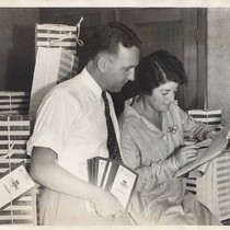 Bill Henry with translator Julia C. Mayer, 1932 Los Angeles Olympic Games