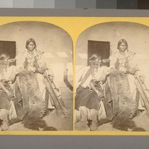 Jicarilla Apache Brave and Squaw, lately wedded. Abiquiu Agency, New Mexico.--Photographer: T. ...