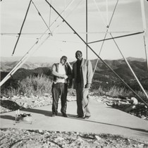 Base of radio tower ; Bernie Dacus and Phil Wilson, Bull Canyon ...