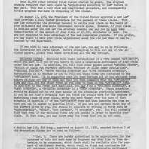 Letter, to claimants under the Evacuation Claims Act of July 2, 1948