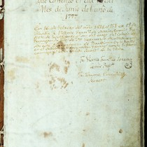 1st page of the Book of Baptisms of Mission Santa Clara
