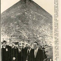 Henry Kissinger in front of the Pyramids at Giza