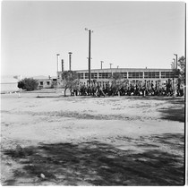 Camp Matthews, Gymnasium, Building No.352, Locker room; view of troops in formation