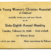 Invitation to sixty-eighth annual meeting of the Young Women's Christian Association of ...