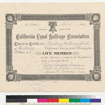California Equal Suffrage Association certificate of life membership for Mary McHenry Keith