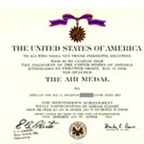 the Air Medal Certificate Awarded To Gustafsson, 1969
