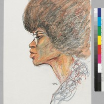 4/5/72 Angela Davis. [Profile Drawing]