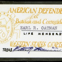 American Defenders of Bataan and Corregidor membership card