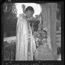 Blessing of the animals, Rev. Bernard O'Connor, pastor Old San Gabriel Mission, ...