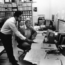 Cliff Wurfel and Armando Martinez processing the Tomás Rivera Archive