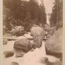 Coming down--last glance of Vernal fall. Yo Semite [i.e. Yosemite] Valley--(Mariposa Co.). ...
