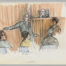 [recto]: 3rd re-trial Newton - Huey Newton [seated], Charles Garry [pointing]