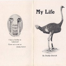 "Atlanta Ostrich Farm Pamphlet: ""My Life, By Daddy Ostrich"" (Front)"