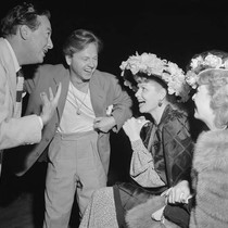 Photograph of actors, Jack Haley, Mickey Rooney and Lucille Ball