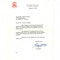Letter from Archbishop of Los Angeles to Miguel and Dolores Venegas, February ...