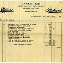 Cadillac receipt issued to R.E. Jack