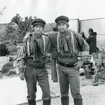 "Chuck Waters and Martin Sheen on the set of ""Eagles Wing"""