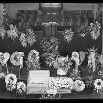 Aerial view of church interior at G.C. Coleman funeral service