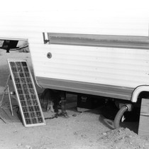 Slab City: photograph of trailer and solar panel