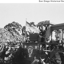 President Franklin D. Roosevelt giving a speech at Balboa Stadium