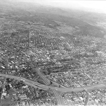 Aerial view looking northeast over the Highway 12 and Highway 101 interchange, ...