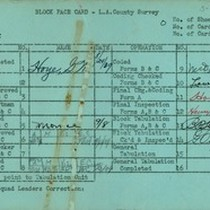 WPA block face card for household census (block 1012) in Los Angeles ...