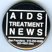 AIDS Treatment News pin-back button