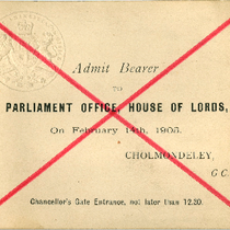Admit card to House of Lords