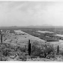 Aerial view from hilltop of Gila River Internment Center