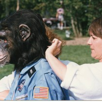 Chuck Waters being fitted for chimpanzee costume