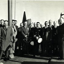 Officials aboard the SS Mission Purisima, a T-2 tanker built at Marinship, ...