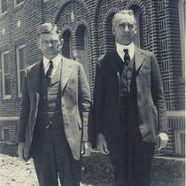 Dr. Vernon Stauffer [left] on the California Christian College campus, Los Angeles, ...