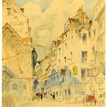 French Street Scene, watercolor on paperboard, c. 1918