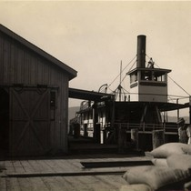 The paddlewheel steamer Caroline at the San Quentin State Prison dock, circa ...