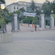 A deserted Sather Gate with On Strike sign